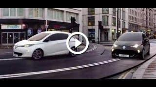 renault zoe electric cars race on a giant london scalextric. Black Bedroom Furniture Sets. Home Design Ideas